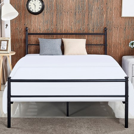 Metal Platform Queen Bed Frame Bed Box Spring Replacement With Headboard Walmart Com