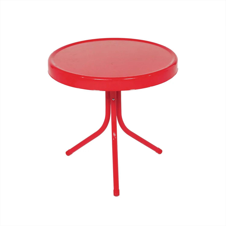 20 metal rouge vibrant retro tulipe d exterieur table d appoint