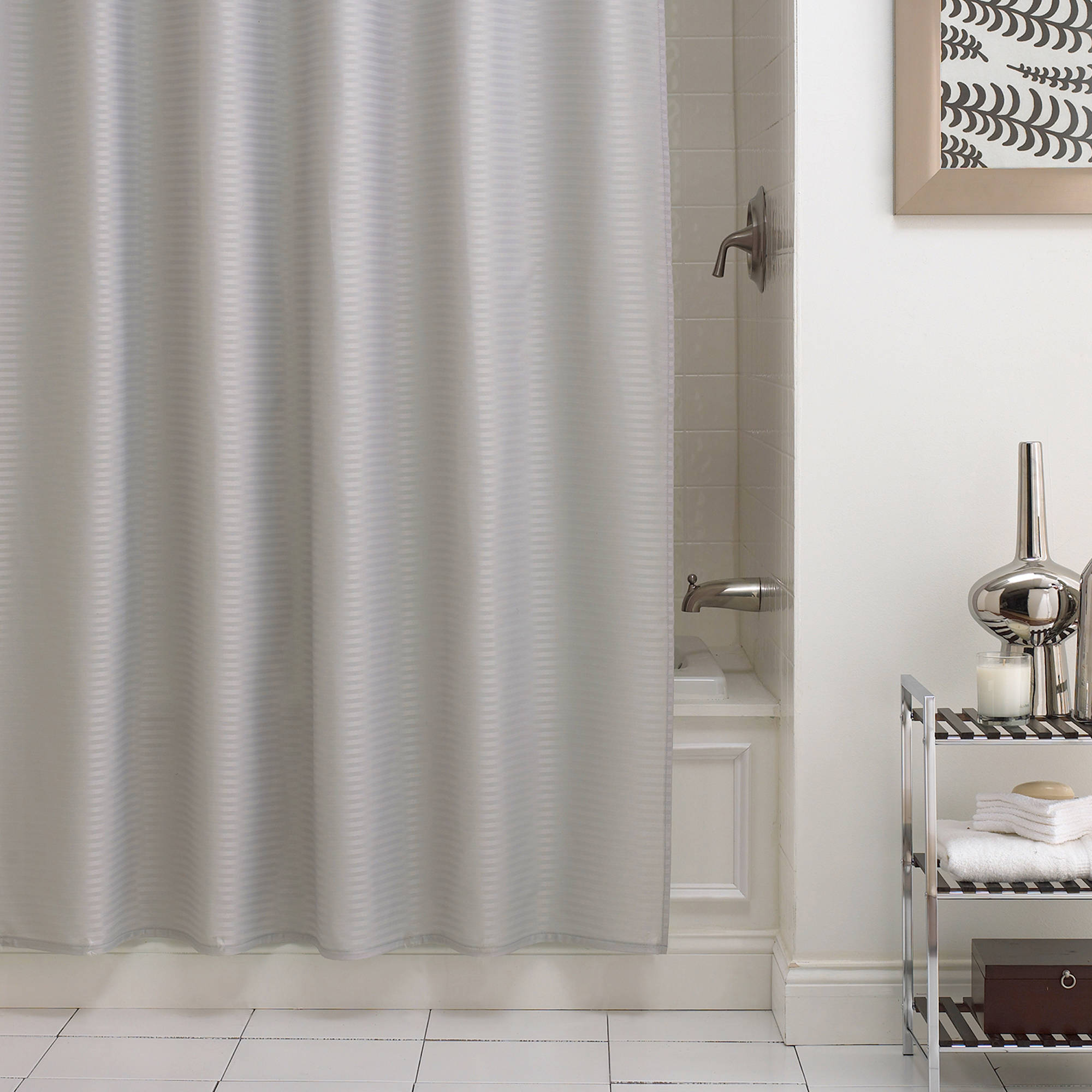 Excell Pure Fabric Horizontal Stripe Shower Curtain Liner Walmart Com