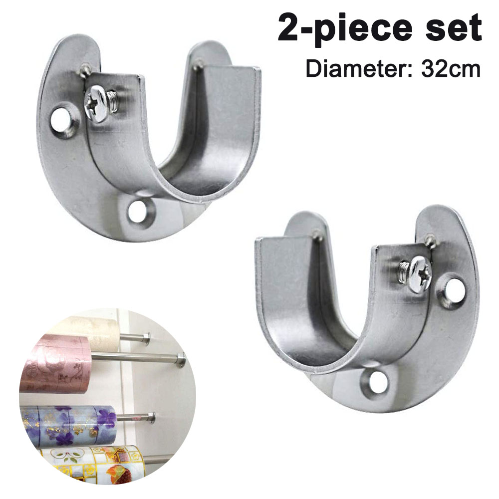2 pack stainless steel closet pole sockets heavy duty closet rod end supports u shaped flange rod holder with screws for wardrobe bracket shower