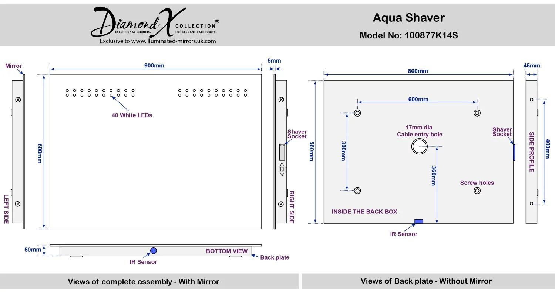 Aqua Shaver Led With Mirror Illuminated Bathroom Demister