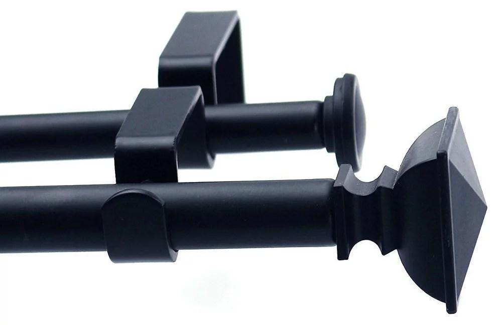 urbanest square urn adjustable double curtain rod 5 8 28 48 black