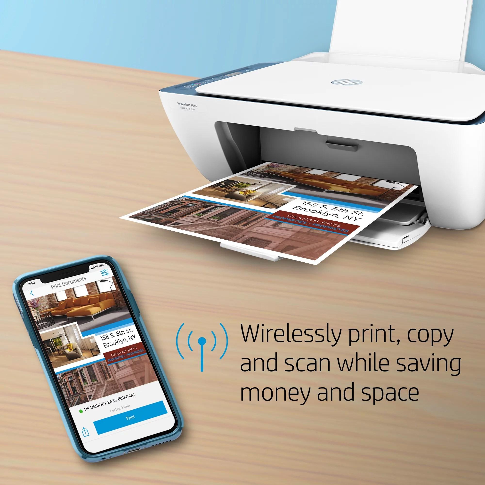 HP DeskJet 2636 All-in-One Printer (Atlantic Blue)   EstoreInfo