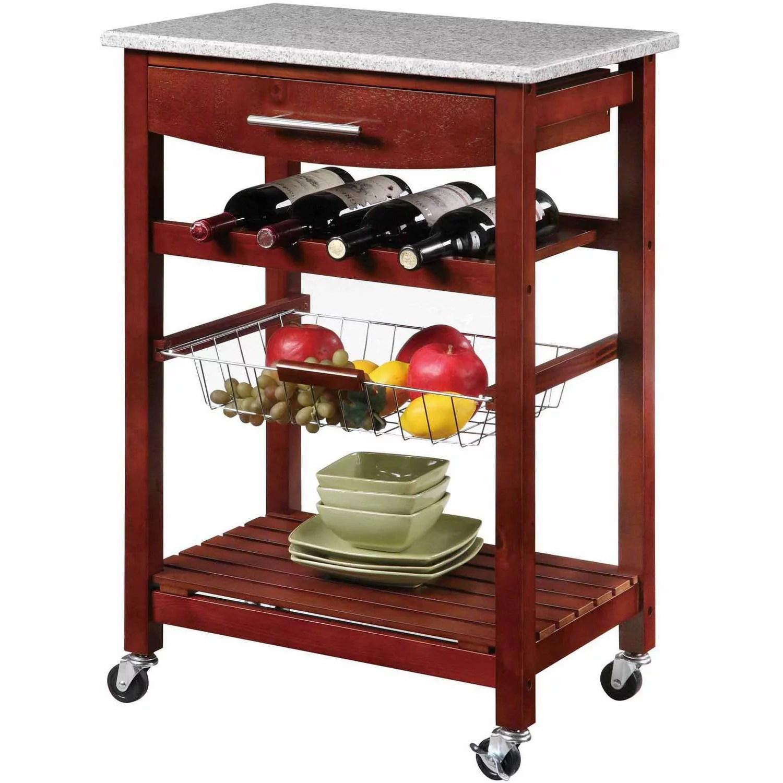 Linon Kitchen Island Cart with Granite Top,