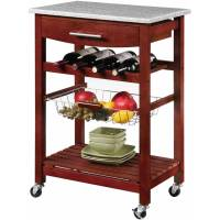Linon Kitchen Island Cart with Granite Top,