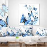 Throw Pillow Covers Designart Cu13309 26 26 Watercolor Butterflies On White Floral Cushion Cover For Living Room In Sofa Throw Pillow 26 In X 26 In Insert Printed On Both Side Home Kitchen