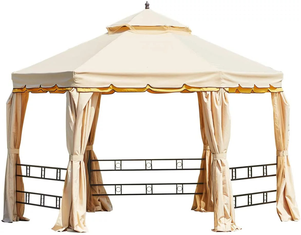 erommy 12ft outdoor gazebo canopy aluminum frame soft top hexagonal outdoor patio gazebo with polyester curtains and air venting screens 028beige
