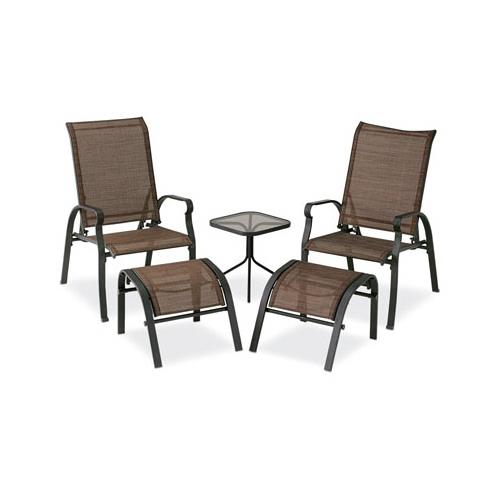 courtyard creations verona sling chat set 5 piece brown