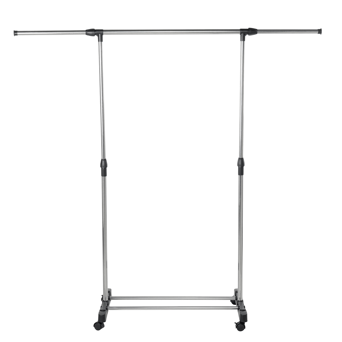 adjustable simple trending single double rod clothing garment rack rolling clothes organizer on wheels for hanging clothes chrome