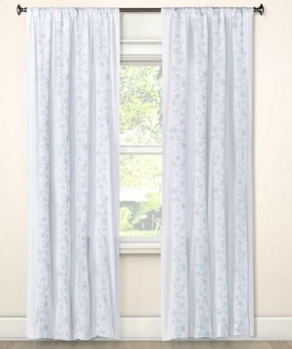 simply shabby chic floral embroidered stripe curtain blue white 95 in
