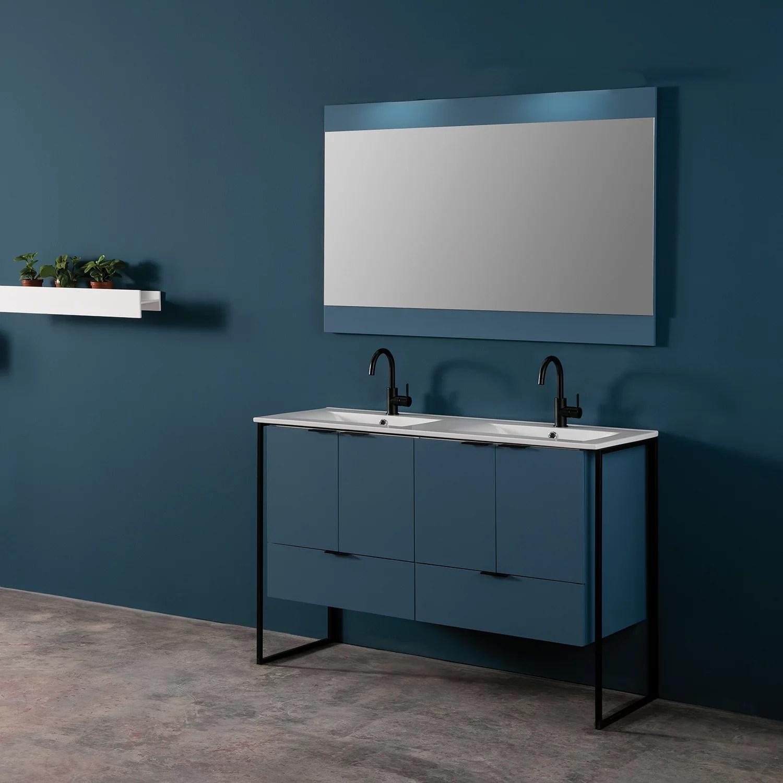 eviva moma 48 inch teal double sink bathroom vanity with black metallic legs