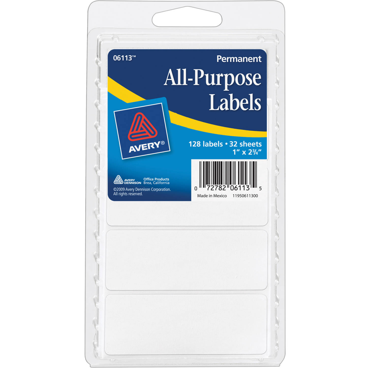 avery r white all purpose labels 6113 1 x 2 3 4 pack of 128