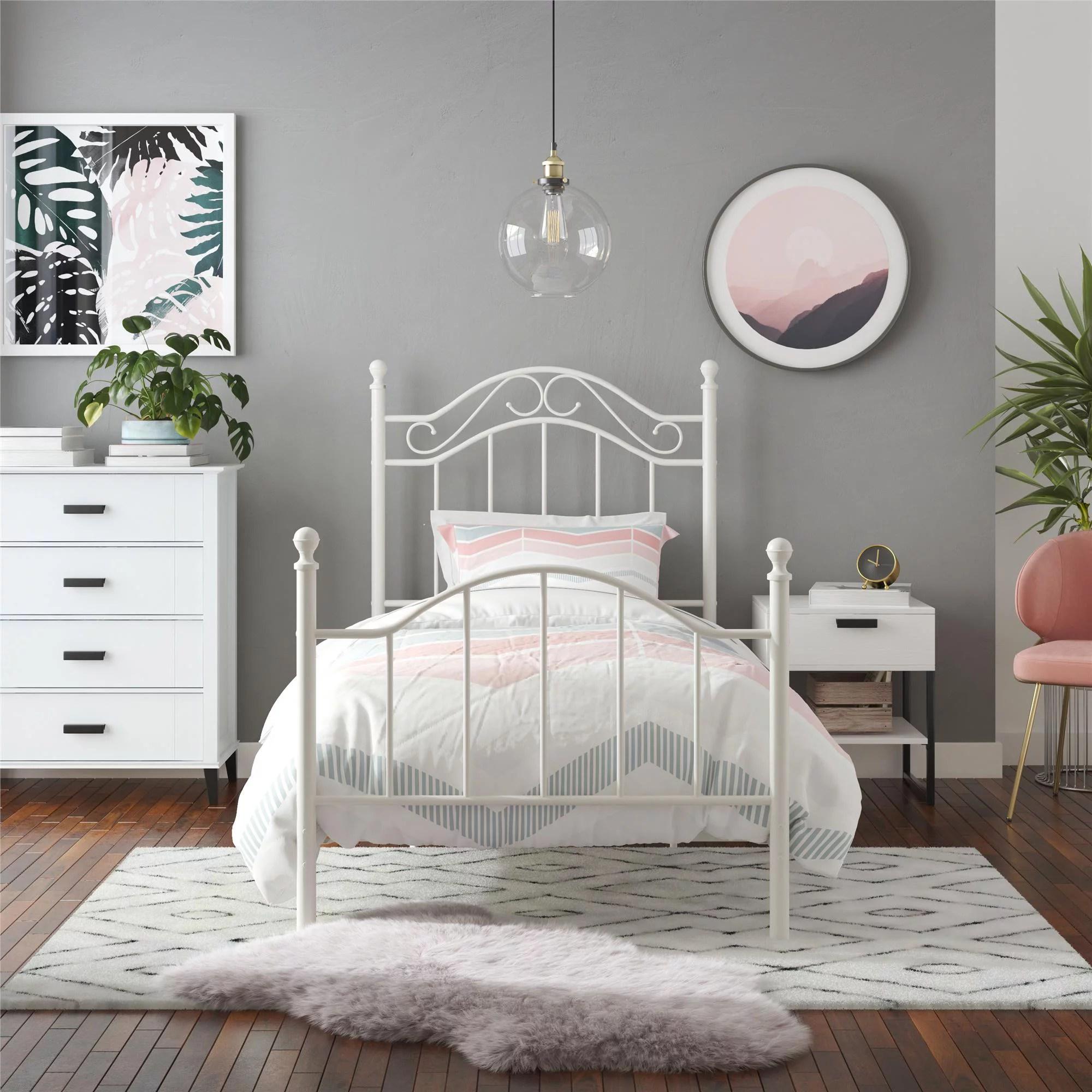 Mainstays Metal Bed Bedroom Furniture Twin Size Frame White Walmart Com Walmart Com