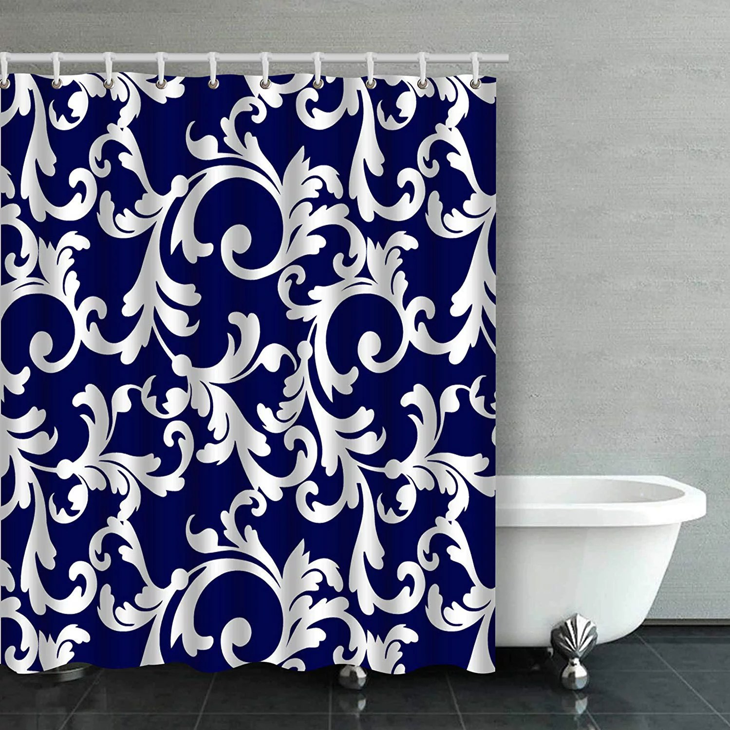 artjia elegant navy blue and white floral pattern bathroom shower curtain 66x72 inches