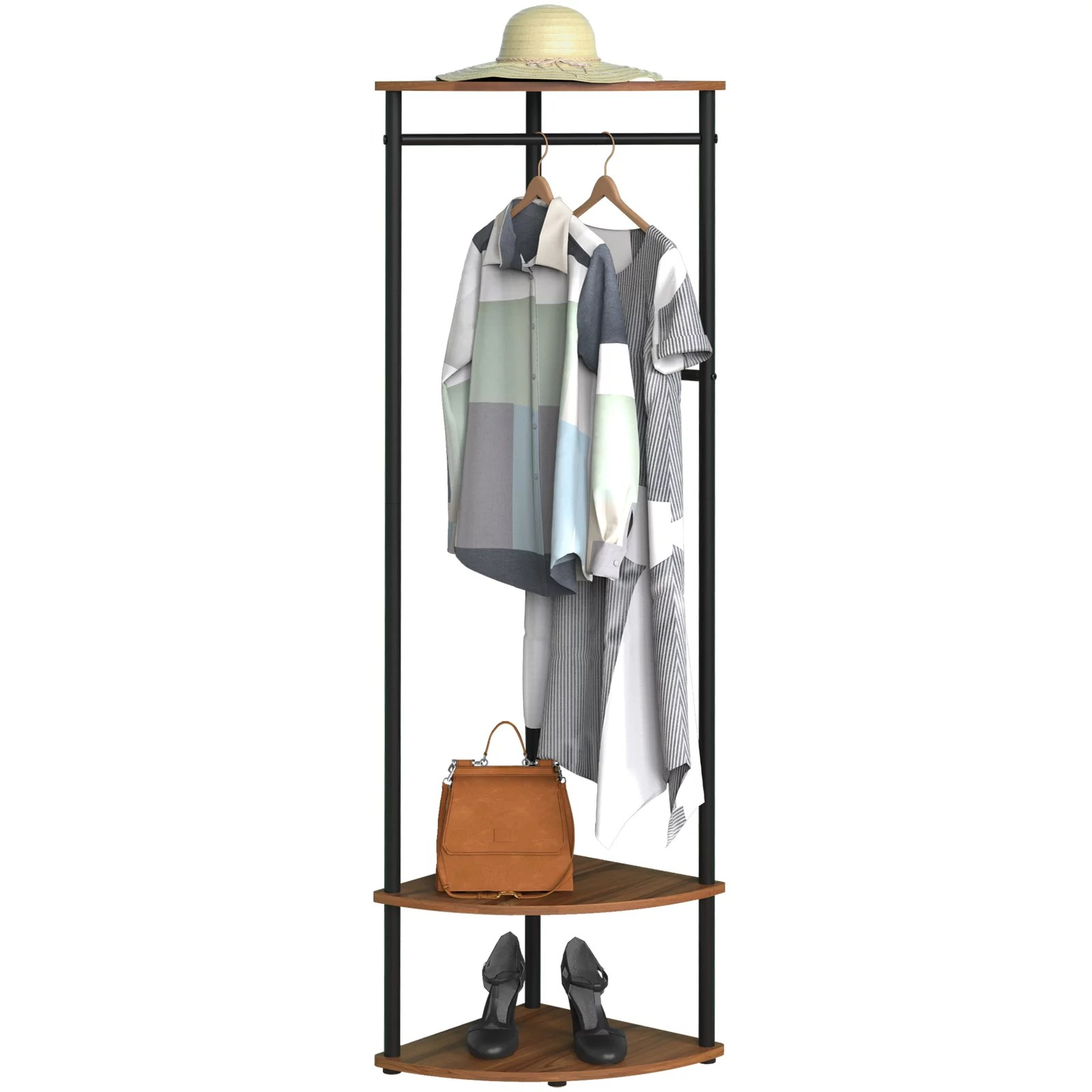 cheflaud corner hall tree coat rack with 3 shelf 4 detachable hooks for coat caps and bag