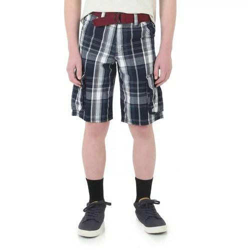 Wrangler Husky Boys' Fashion Plaid Cargo Short