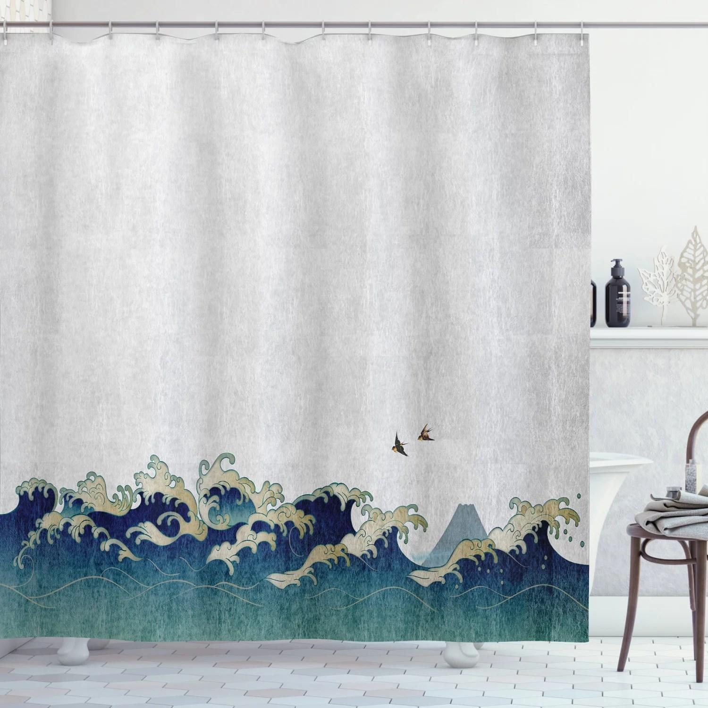 japanese wave shower curtain aquatic swirls birds of ocean ukiyo e style artwork greyscale background fabric bathroom set with hooks grey blue