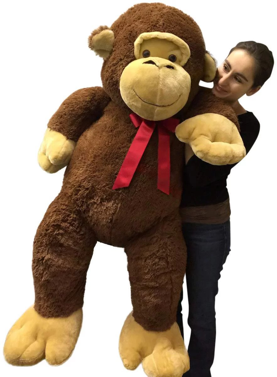 Giant Stuffed Monkey 5 Feet Tall Soft Brown Large Plush