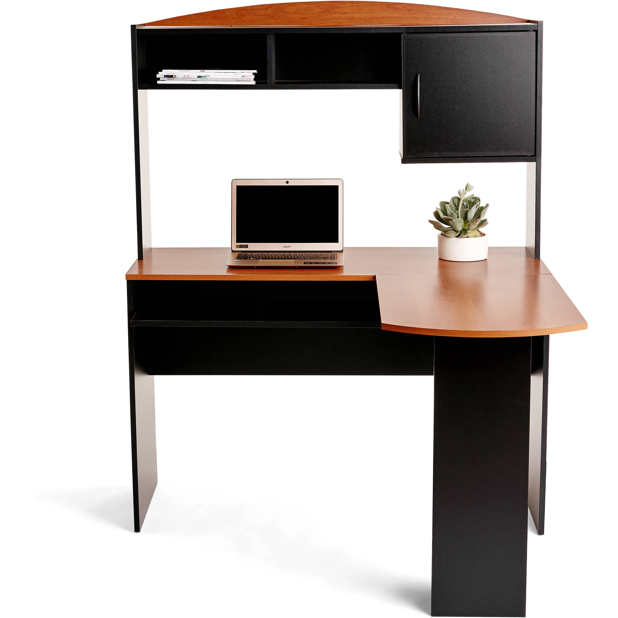 Mainstays LShaped Desk with Hutch and Leather MidBack
