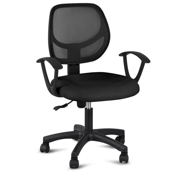 chair with arms and half ottoman yaheetech adjustable swivel computer desk fabric mesh office seating back rest