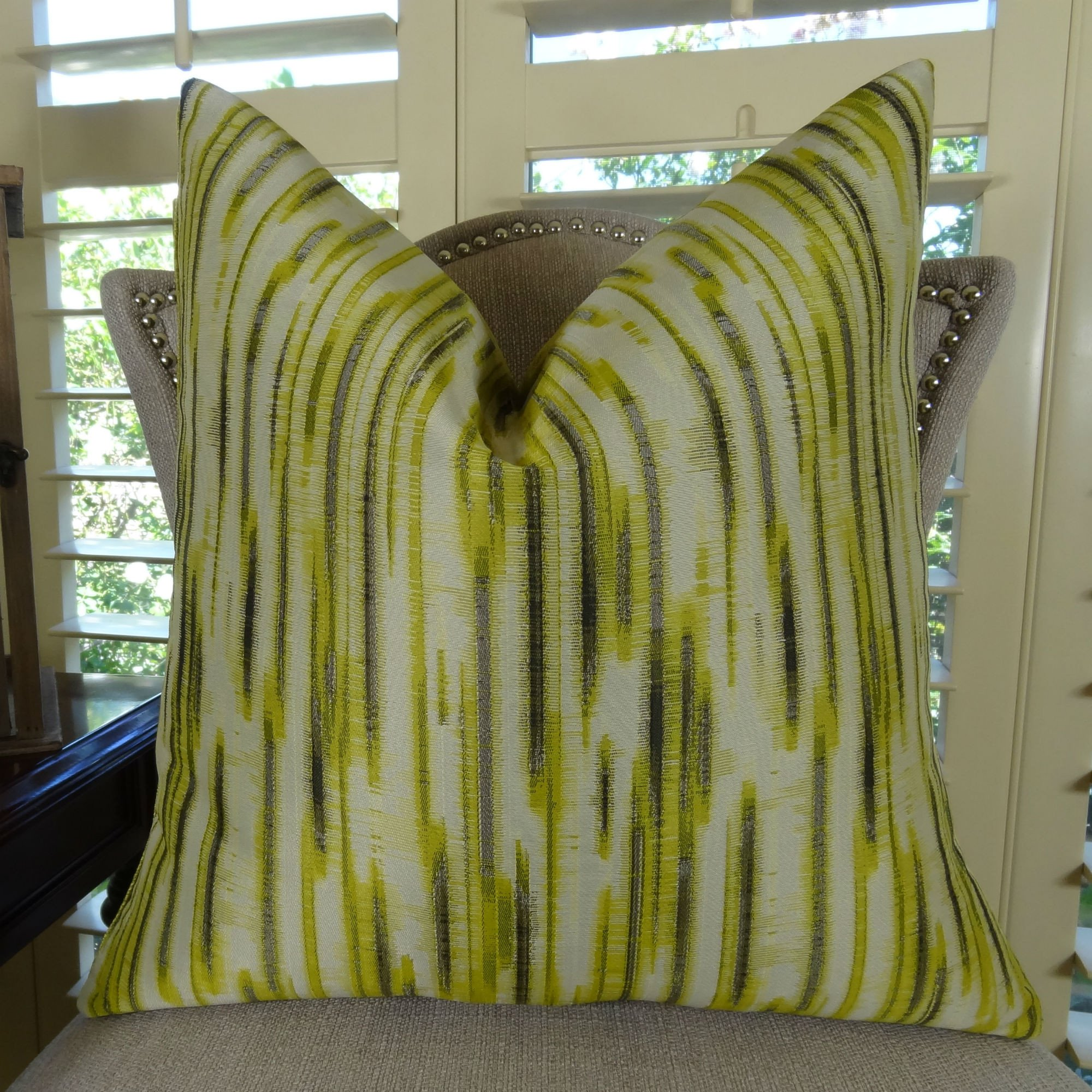 thomas collection chartreuse green greige modern graphic throw pillow 11194