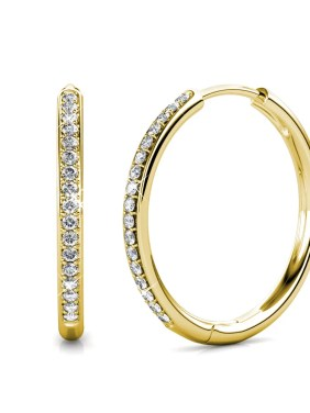 Cate & Chloe Bianca 18k White Gold Hoop Earrings with Swarovski Crystals, Crystal Drop Dangle Earrings, Best Silver Hoops for Women, Sparkle Round Hoops for Ladies, Hoop Earrings (Yellow Gold)