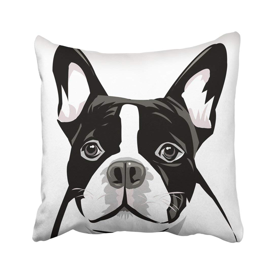 bpbop animals dog face boston terrier breed drawing head pet pillowcase throw pillow cover case 16x16 inches