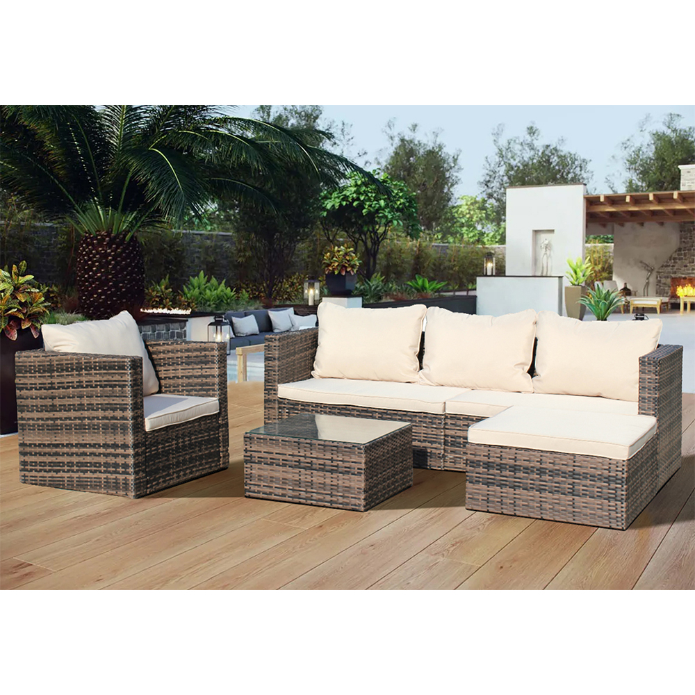 clearance 4 piece patio furniture set with wicker chair 3 seat sofa ottoman glass table all weather pe rattan outdoor conversation set for
