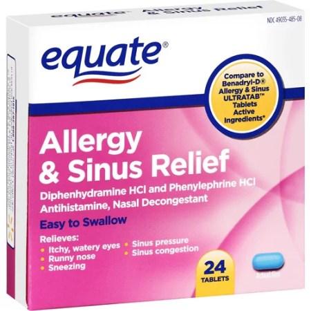 Equate: Allergy & Sinus Medication, 24 Ct - Walmart.com