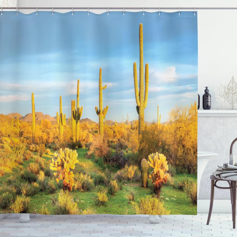saguaro cactus decor shower curtain set sun bath in sonoran desert blooming cactus spring time vegetation scenery bathroom accessories 69w x 70l