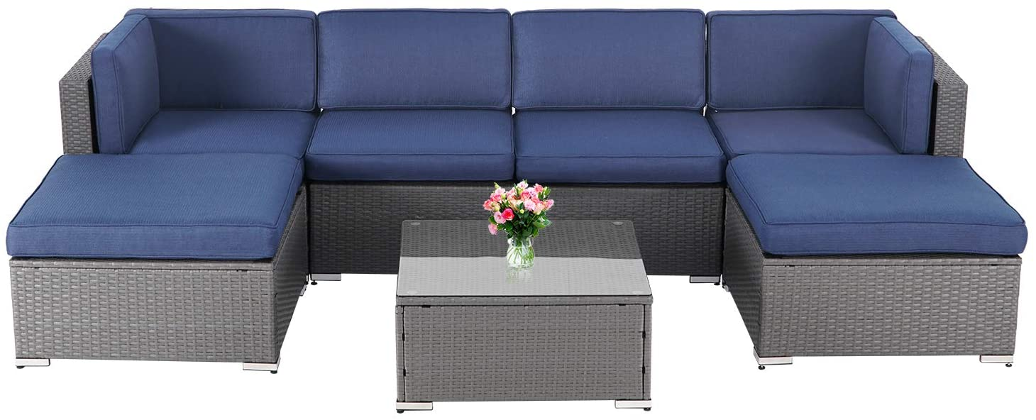 suncrown outdoor furniture 7 piece patio sofa modular sectional gray wicker conversation set with ottoman coffee table navy blue