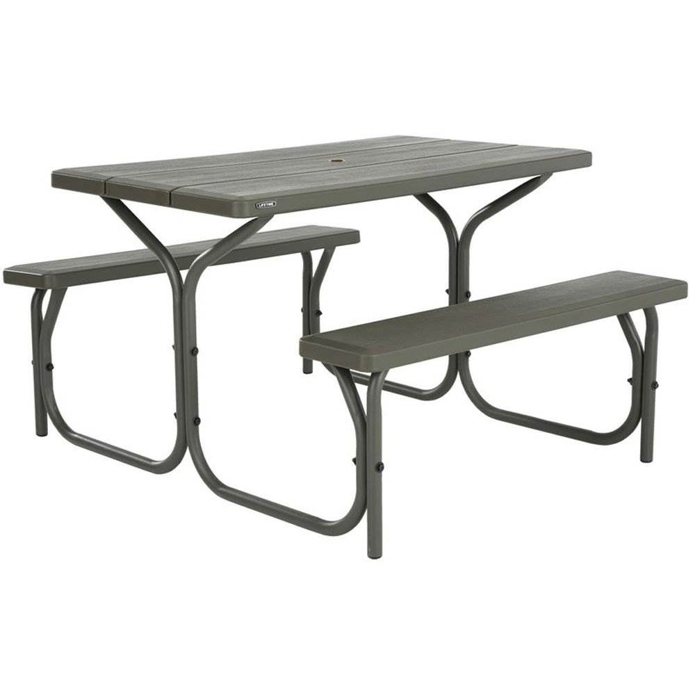 lifetime 4 foot outdoor plastic camping or dining stain free picnic table brown