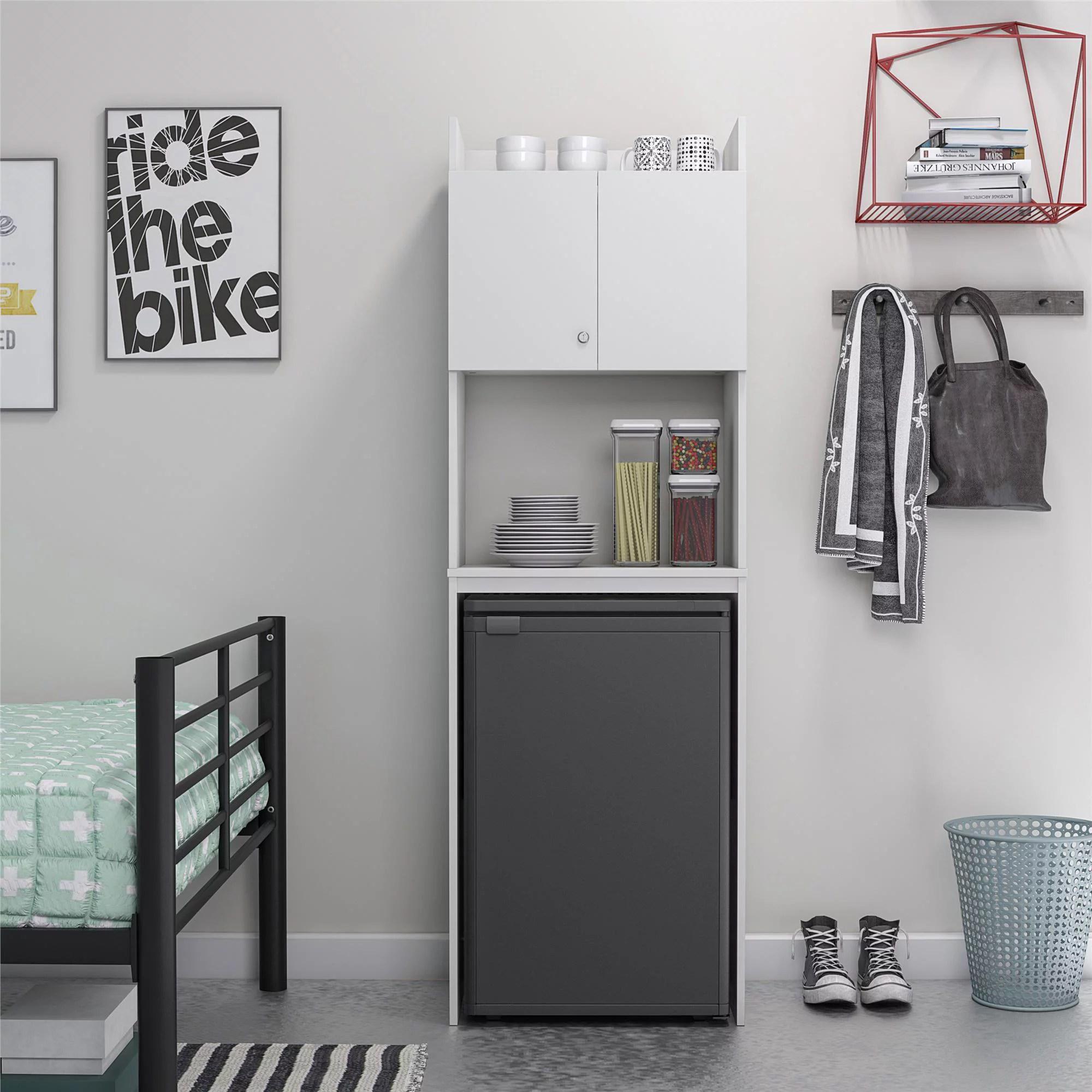 ameriwood home youngstin mini refrigerator storage cabinet white walmart com