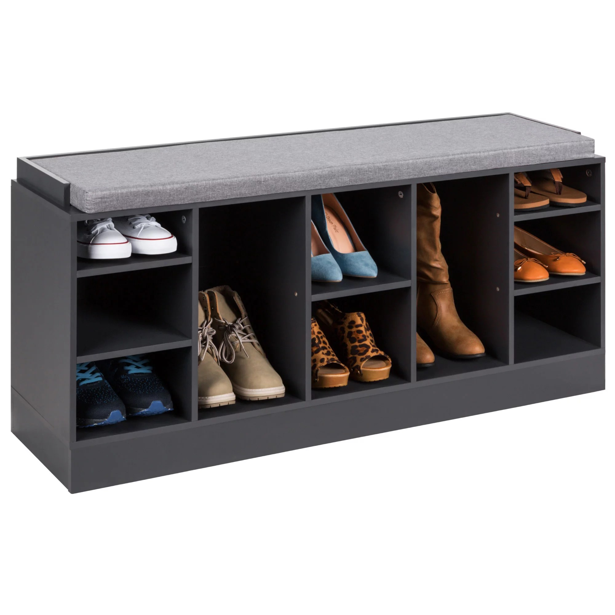 Best Choice Products 46in Shoe Storage Organization Rack Bench For Entryway Bedroom W Padded Seat 10 Cubbies Gray Walmart Com Walmart Com
