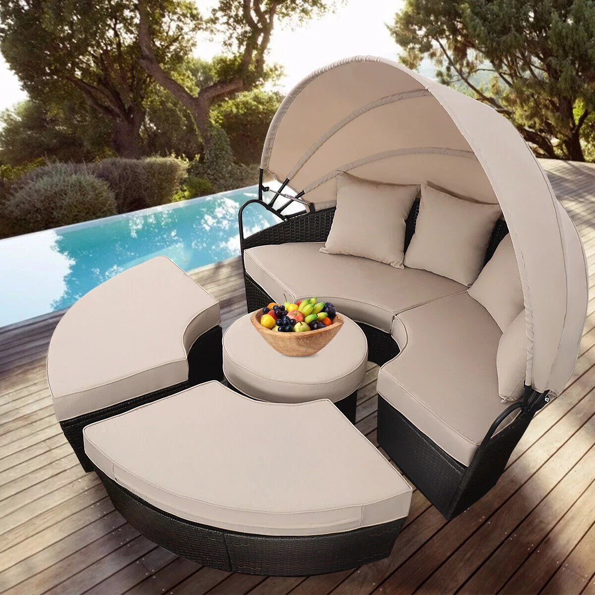 costway outdoor mix brown rattan patio sofa furniture round retractable canopy daybed walmart com