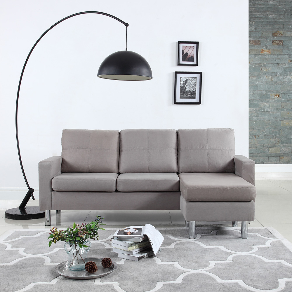 modern small space configurable couch in soft microfiber upholstery grey