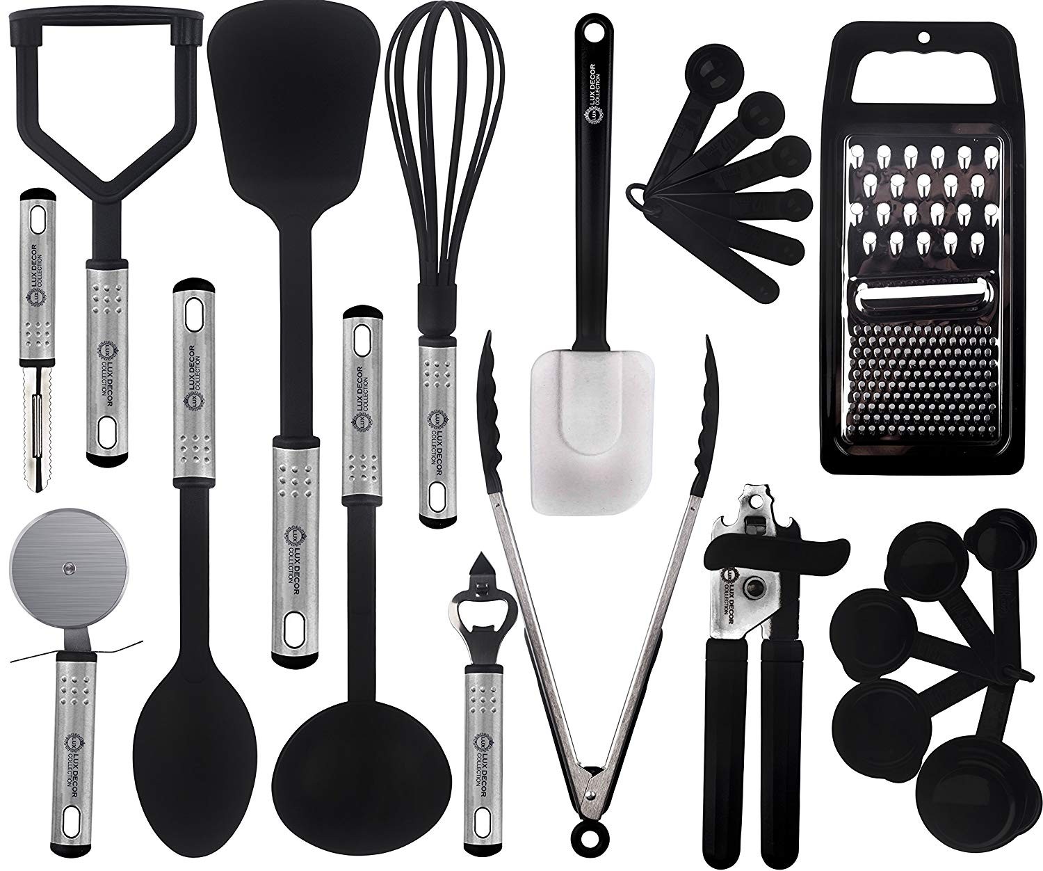 kitchen utensil sets industrial cabinets lux decor cooking utensils set 23 pieces nylon gadgets cookware