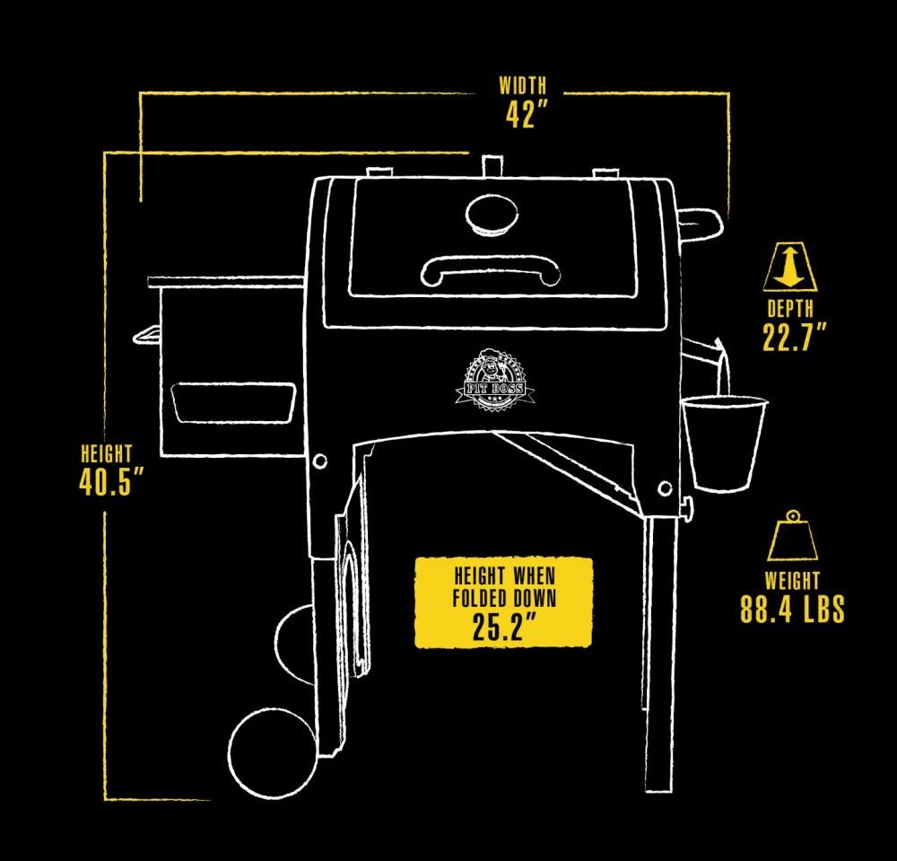 medium resolution of pit boss 340 sq in portable tailgate camp pellet grill w folding legs walmart com