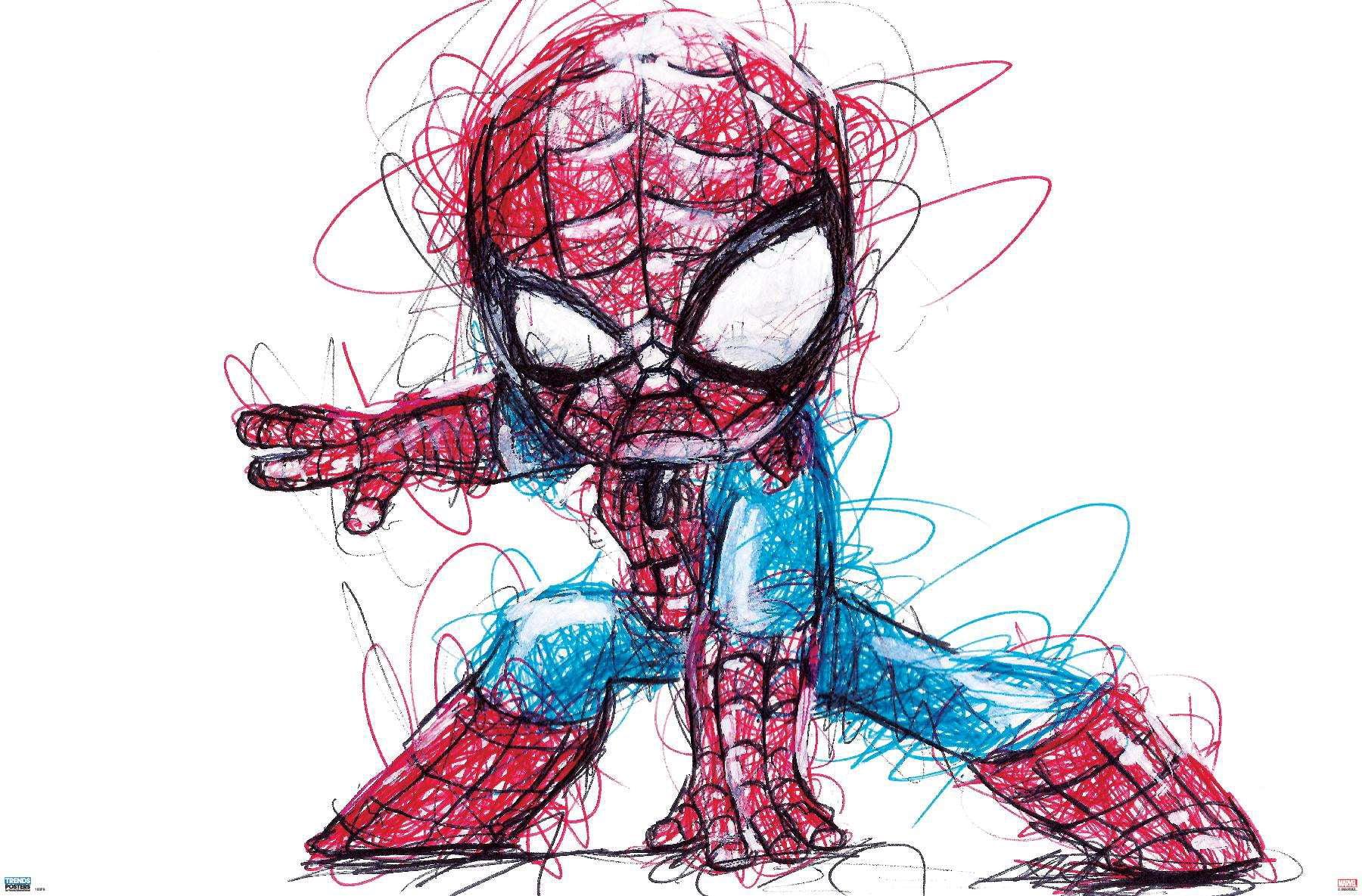 marvel comics spider man sketch poster