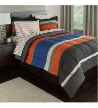 Gray, Orange & Blue Stripes Boys Teen Twin Comforter Set ...