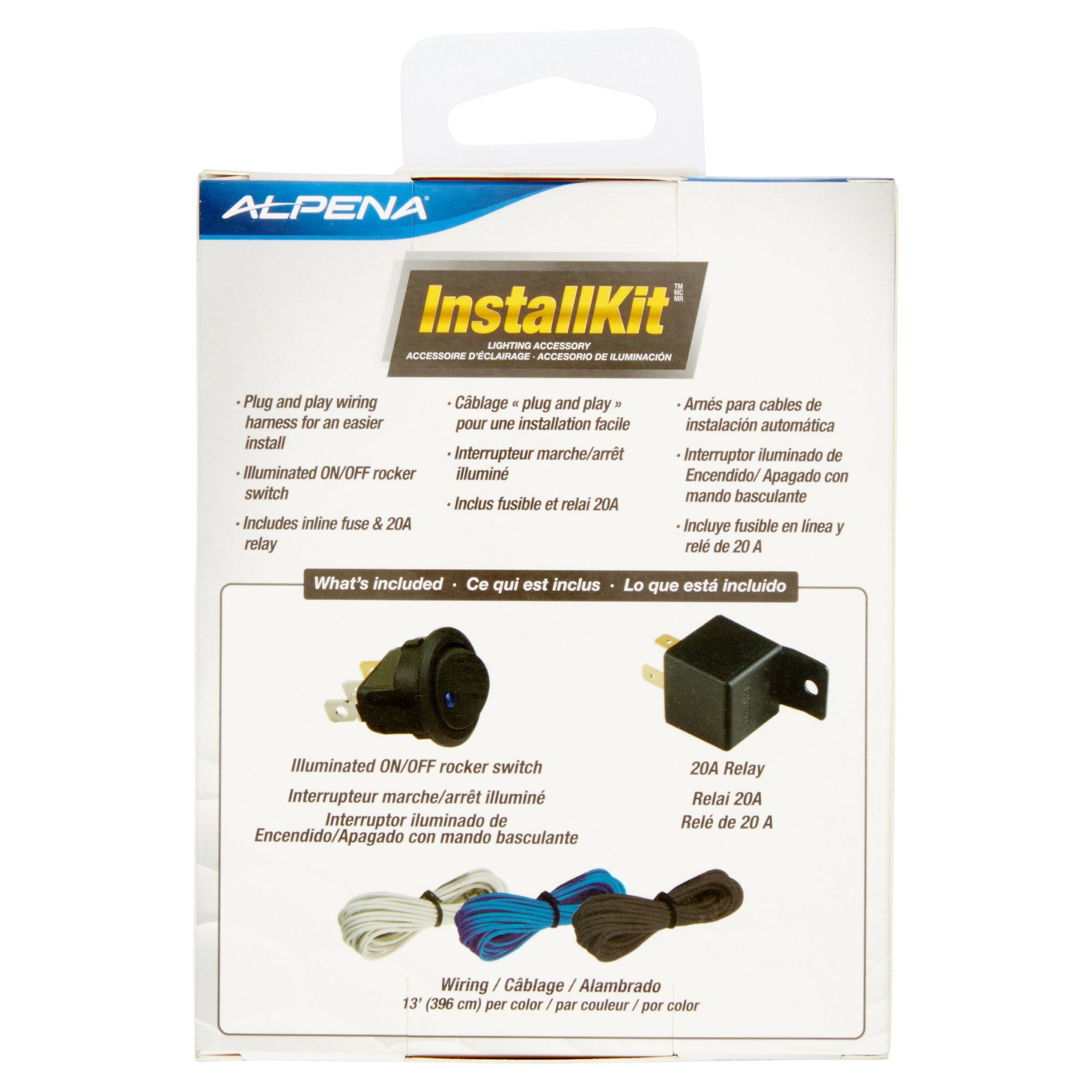 hight resolution of alpena universal automortive install kit on off rocker switch 20amp relay 3 wiring harness walmart com