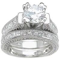 CZ 925 Sterling Silver Rhodium Finish Princess Wedding Set ...