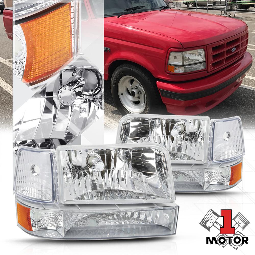 medium resolution of chrome housing headlight amber corner reflector for 92 96 f150 f250 f350 bronco 93 94 95 walmart com