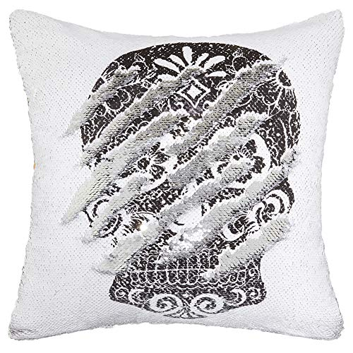 play tailor mermaid sequin pillow case flip sequin pillow cover sugar skull throw cushion cover 16 x16 silver and white with skull
