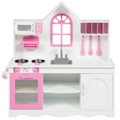 Solid Wood Toy Kitchen Bar Stools Ikea Best Choice Products Bcp Kids Toddler Pretend Play Set Construction White Walmart Com