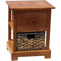 Nightstand With Hyacinth Basket, Dark Oak - Walmart.com