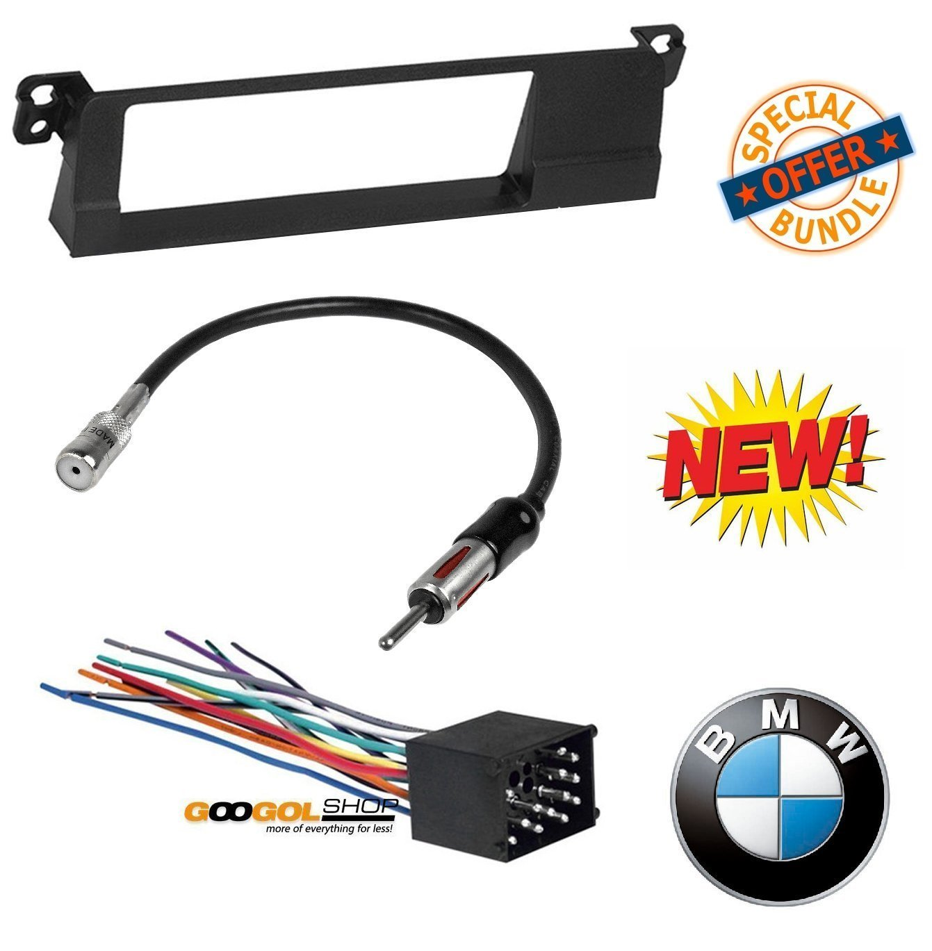 hight resolution of 99 01 e46 3 series car stereo radio kit dash installation trim w wiring harness and antenna walmart com