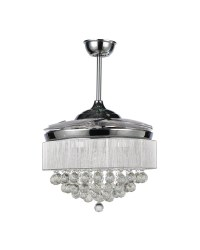 Modern Chrome Finished Crystal LED Ceiling Fan with Light ...