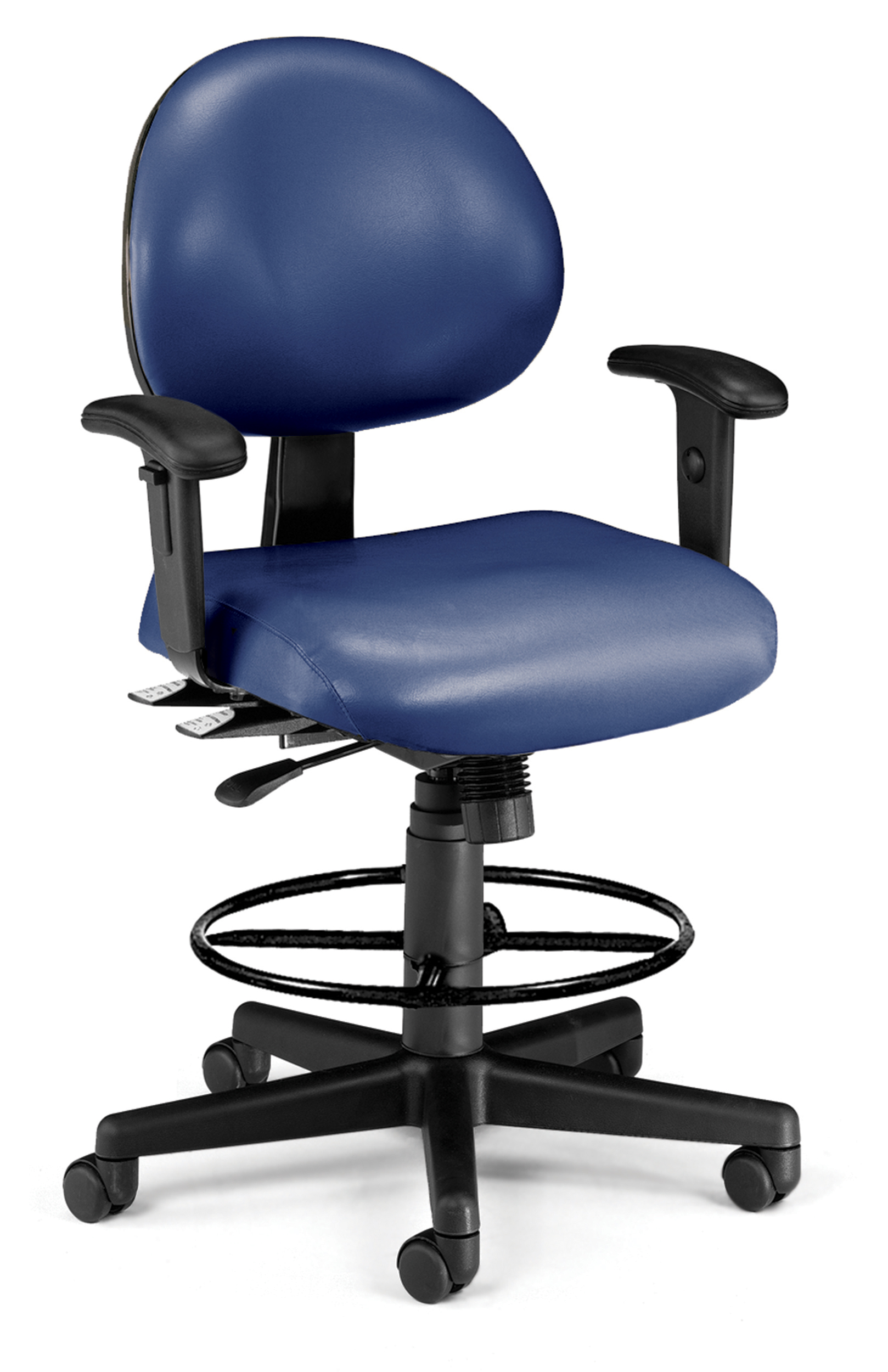ergonomic drafting chair with arms gray glider ofm 241 vam aadk 24 hour task