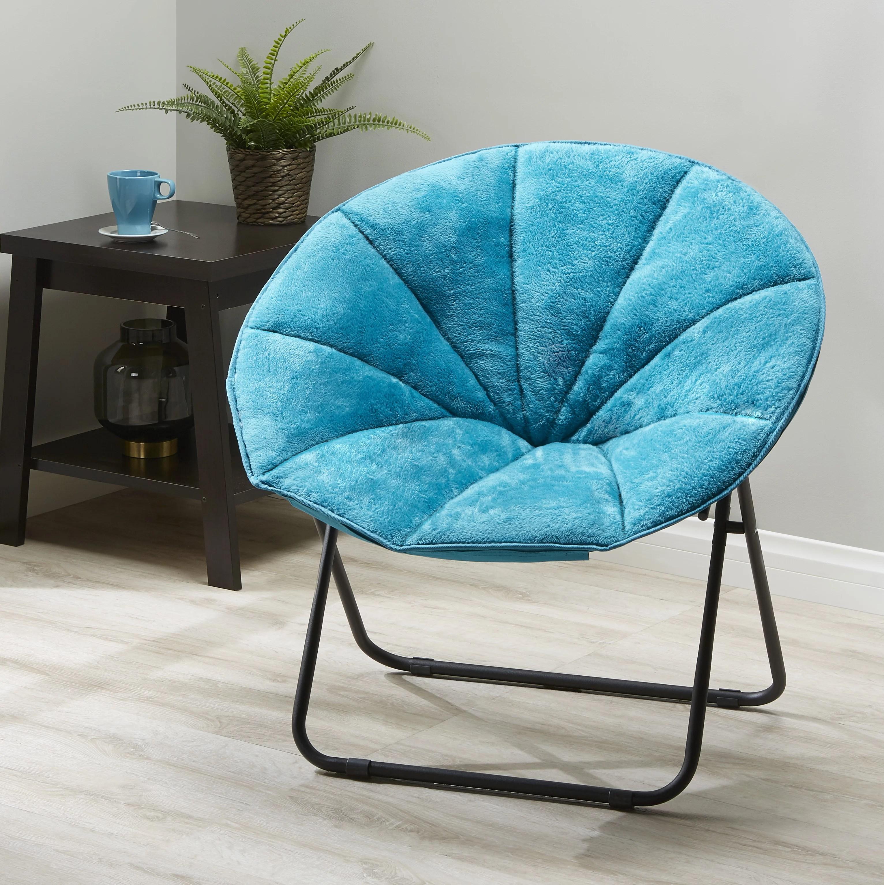teal faux fur saucer chair rubber foot protectors mainstays folding plush multiple colors walmart com